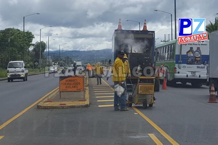 Trabajos en Interamericana Sur, San Isidro – Palmares, avanzan satisfactoriamente.