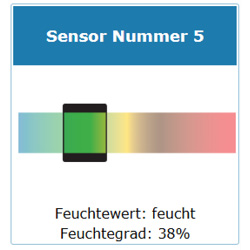 Einzelsensor Feuchtesensor Messsystem Anzeige Feuchtwert und Feuchtegrad
