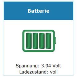 Ladezustand Batterie LoRa Übertragung Spannung in Volt und Ladezustand