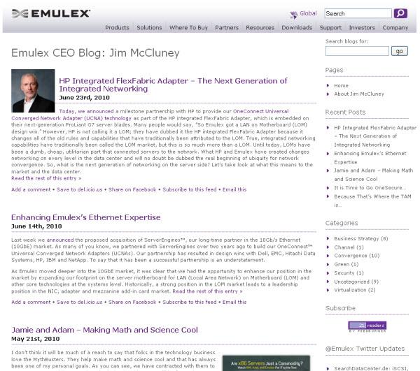 Emulex CEO blog