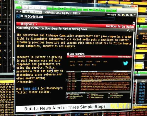 Twitter announcement inside Bloomberg.