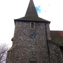 The village church in Downe, with sundial memorial for Darwin.