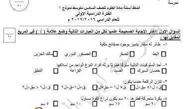 Photo of انماط اسئلة علوم للصف السادس فصل اول مدرسة ابن النفيس 2016-2017