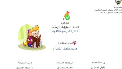 Photo of مذكرة اسلامية للصف السابع فصل ثاني مدرسة هالة بنت خويلد 2017-2018