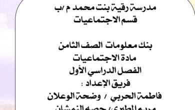 Photo of الصف الثامن بنك معلومات اجتماعيات مدرسة رقية بنت محمد 2016-2017