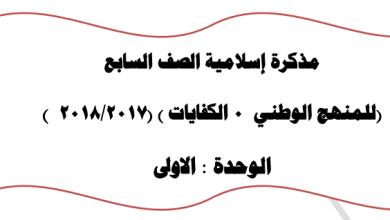Photo of الصف السابع مذكرة الكفايات اسلامية اعداد عبدالمحسن محمد 2017-2018