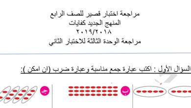 Photo of مراجعة اختبار قصير كفايات الوحدة الثالثة رياضيات للصف الرابع 2018-2019