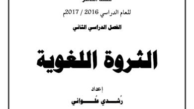 Photo of الثروة اللغوية  الصف العاشر الفصل الثاني اعداد رشدي علواني ثانوية عيسى الهولي 2016-2017
