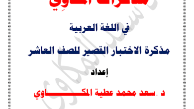Photo of مذكرات المكاوي لغة عربية الصف العاشر الفصل الثاني ثانوية  الشيخ سعد الصباح 2017-2018