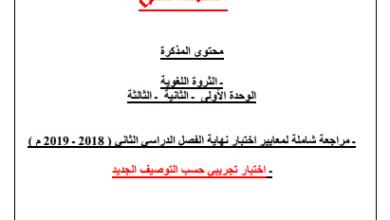 Photo of مذكرة لغة عربية للصف السابع الفصل الثاني إعداد أ. حمادة ماهر 2018-2019