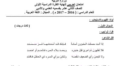 Photo of الصف الثاني عشر امتحان تجريبي لغة عربية 2016-2017