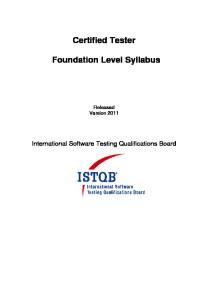 ISTQB Foundation Level Syllabus 2011 EN