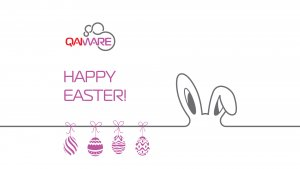 Happy Easter by Qaiware. Purple eggs and bunny. Qaiware logo
