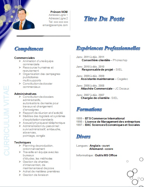 photo modele de cv commercial gratuit lettre de motivation