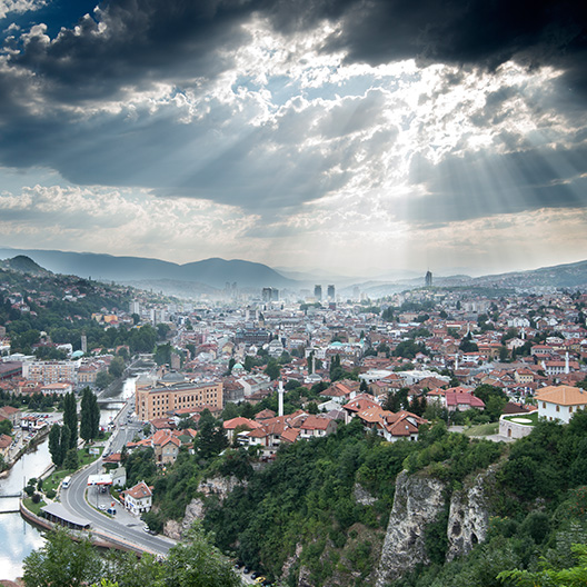 Image of a panoramic view of Sarajevo city, Bosnia and Herzegovina