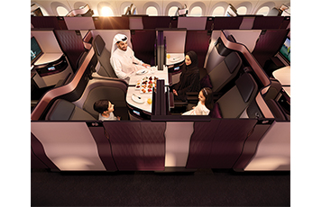 Adjustable panels and movable TV monitors on the centre four seats allow colleagues, friends or families travelling together to transform their space into a private suite