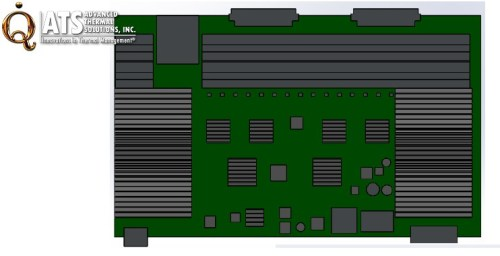 The final PCB layout with maxiFLOW heat sinks covering the hottest components on both ends of the board. (Advanced Thermal Solutions, Inc.)