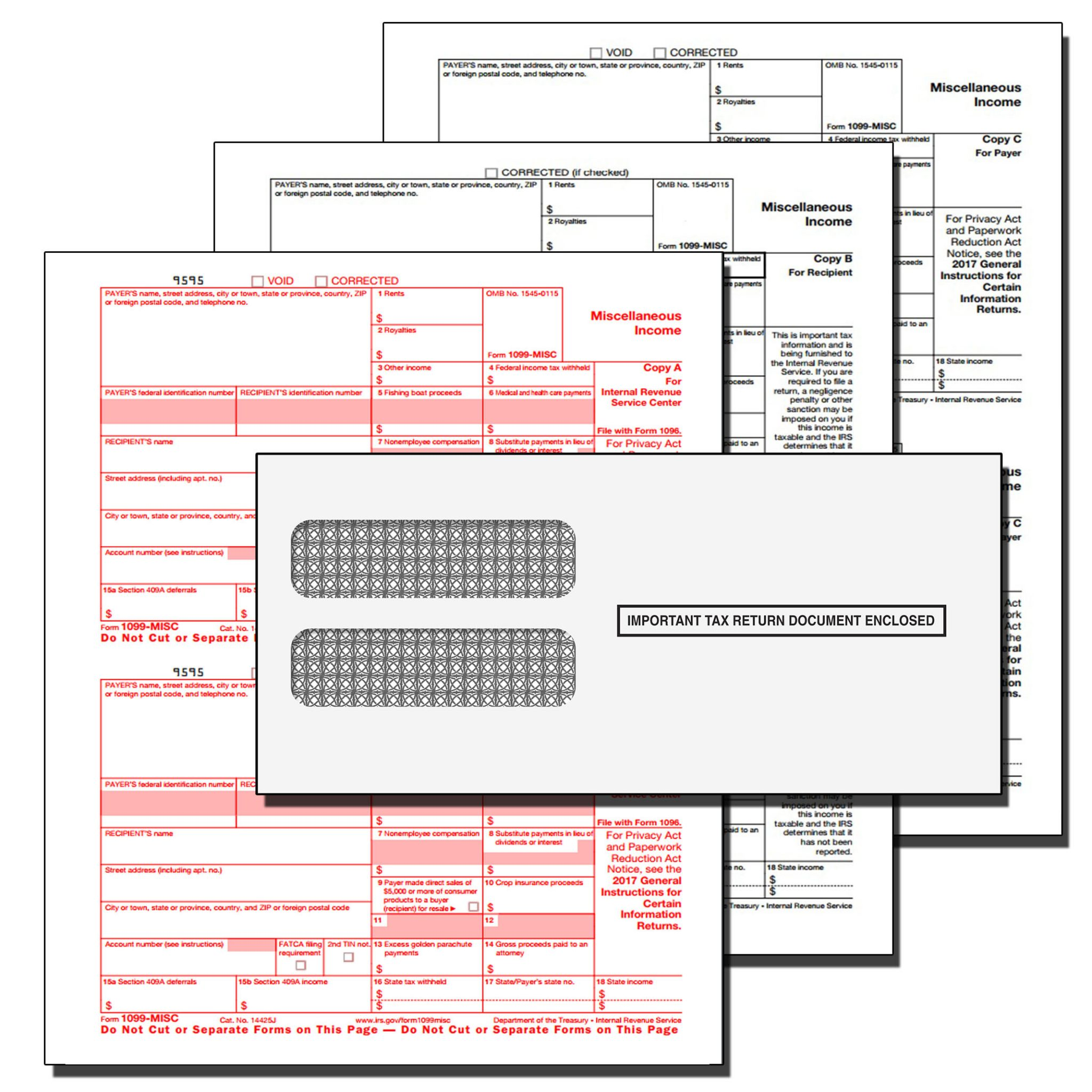 Quickbooks Misc 3 Part Pre Printed Tax Forms