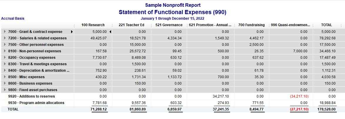 Sample Statement of Functional Expenses QuickBooks Nonprofit Report