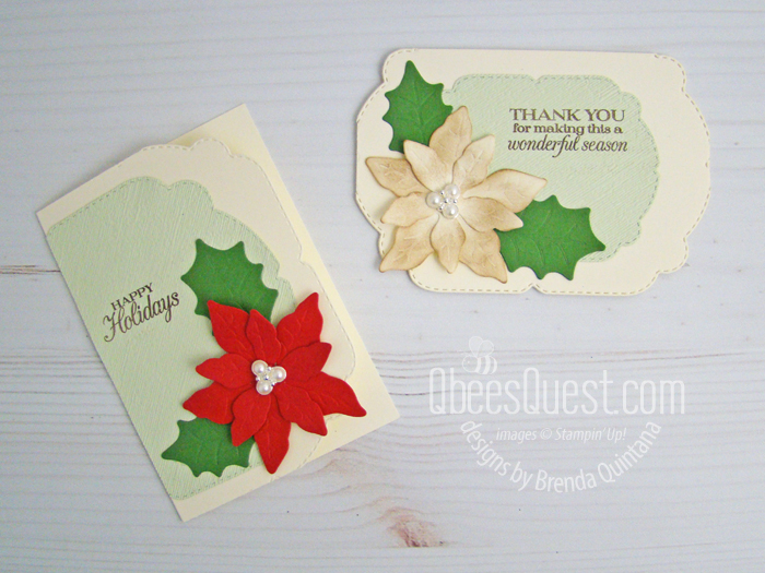 Stampin' Up Poinsettia Fancy Edge Christmas Note Cards