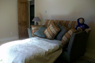The guest room in the main house has a comfy queen sized sofa bed