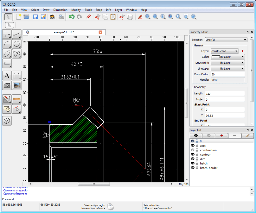 medium resolution of qcad application window