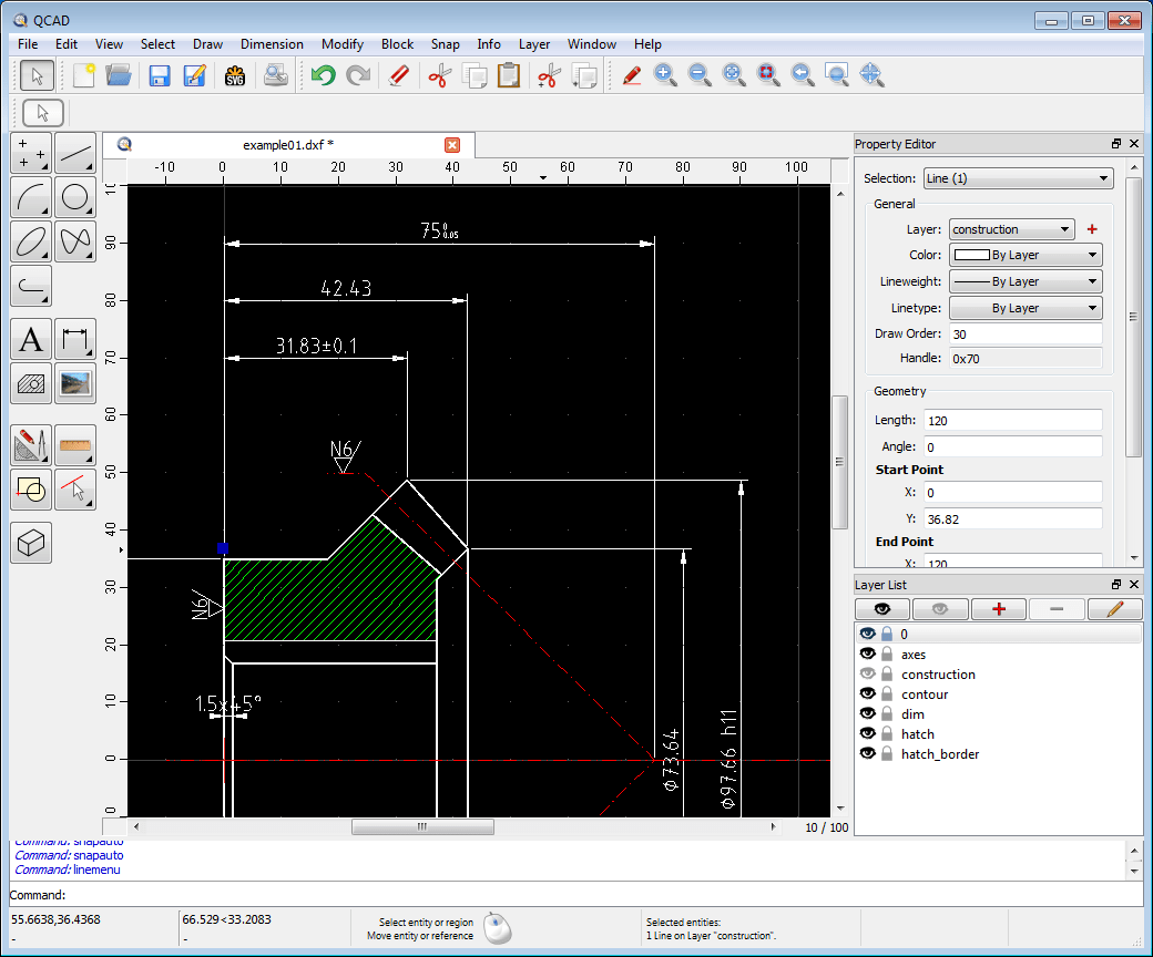 hight resolution of qcad application window