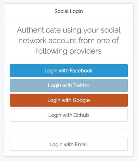 OAuth login using Facebook, Google, Twitter and Github with
