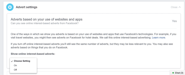 Advert settings in Facebook