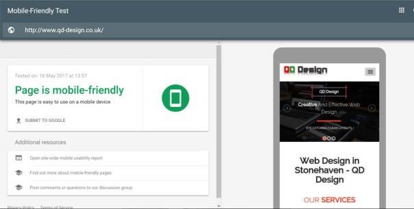 QD Design site successfully passing the search console mobile friendly test