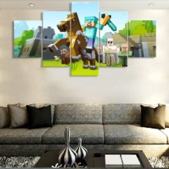 Modern Living Room Wall Art Chair Sale Canvas Painting Hd Printed 5 Panel Pictures Jack Decor Poster Pieces Minecraft Cartoon Game