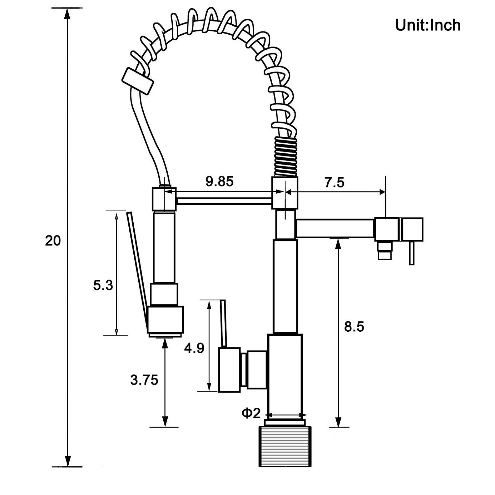 Modern Spring Single Handle Kitchen Sink Faucet With Pull