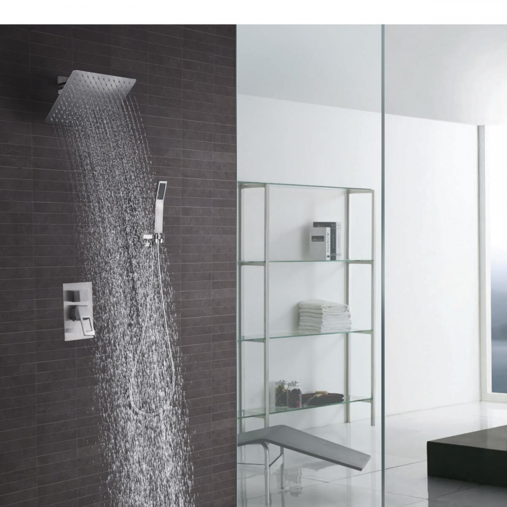 rain shower faucet set combo system with shower trim valve body brushed nickel 10 inch square shower head handheld shower
