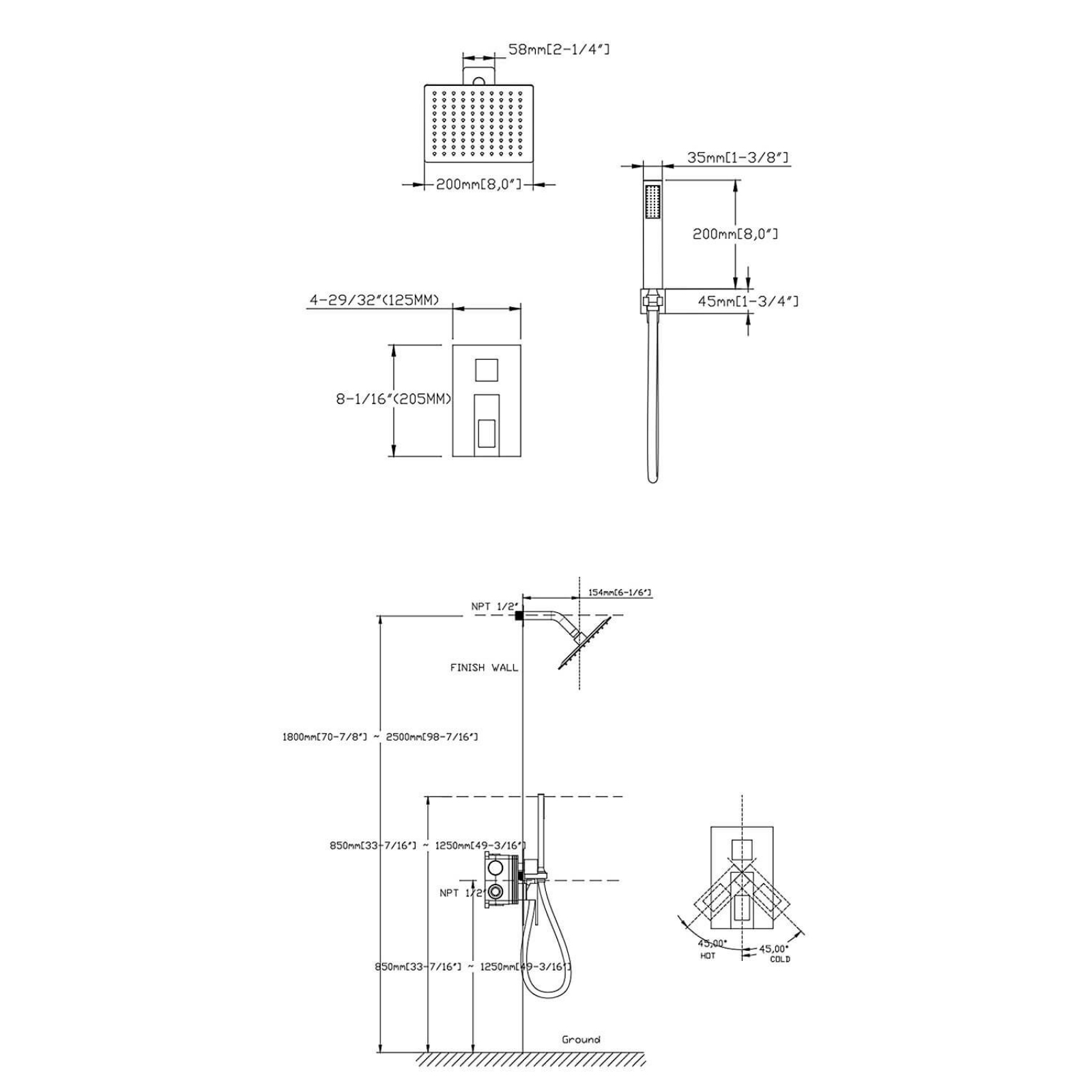 hight resolution of  rain shower faucet sets complete rough in valve included and full metal components in