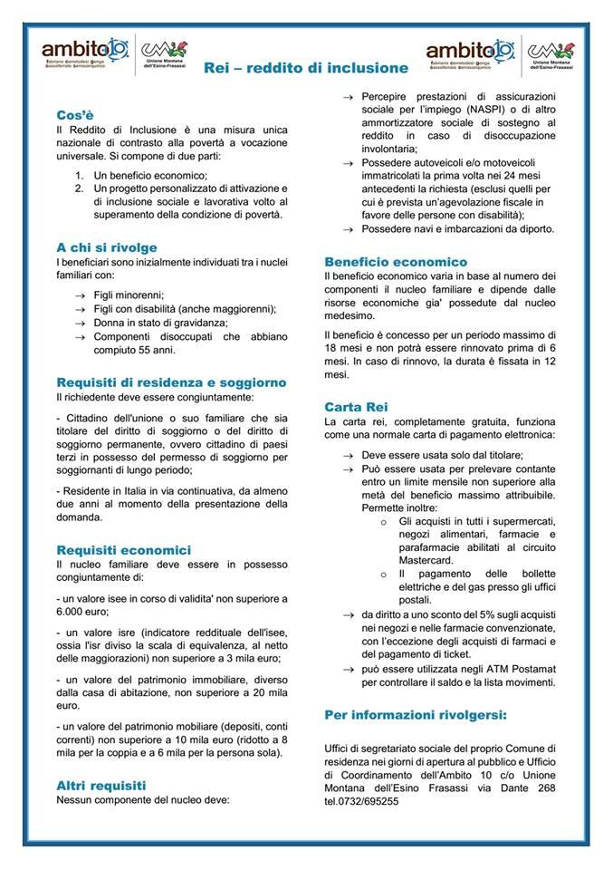 FABRIANO / REDDITO D\'INCLUSIONE, DA OGGI LE DOMANDE | qdmnotizie