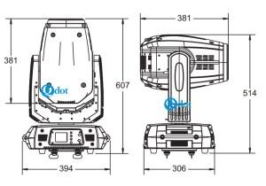 QB-10RT beam spot wash 3in1 SIZE