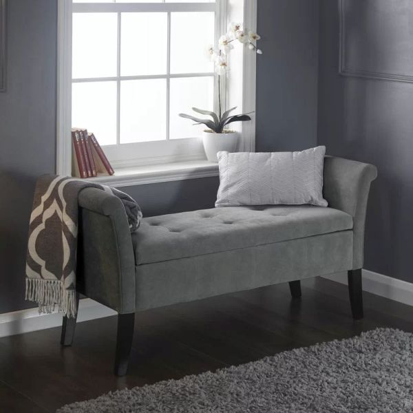 Chenille Fabric Balmoral Window Seat Silver - Online