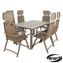 Libeccio Garden Furniture Table Set & 6 Turtle Dove Aqua