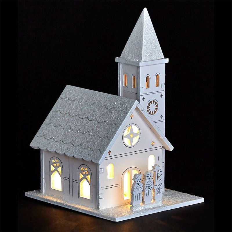 White LED Wooden Church with People