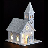 White LED Wooden Church with People - Buy Online at QD Stores