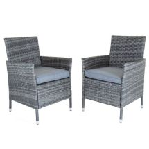 Napoli Pair Of Rattan Dining Chairs Garden Furniture