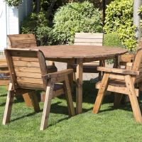 6 Seat Circular Table & Chairs Scandinavian Redwood Garden ...