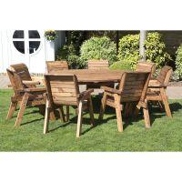 8 Seat Circular Table & Chairs Scandinavian Redwood Garden ...