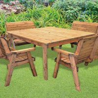 8 Seat Deluxe Scandinavian Redwood Square Bench Garden ...