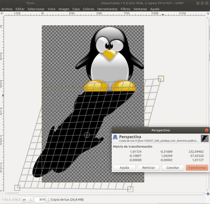 crear sombras sobre siluetas con GIMP