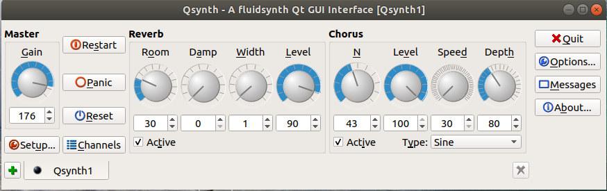 Qsynth, interfaz gráfica de FluidSynth