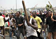 Niger Delta youths protesting in 2014