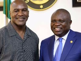 Former heavyweight boxing champion Evander Holyfield and Lagos State Governor Akinwunmi Ambode