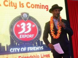 Gideon Okeke at the unveil of the City of Friends