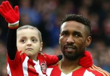 Sunderland fan Bradley Lowery and Jermain Defoe